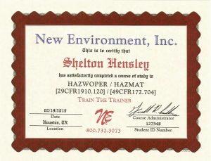 Hazwoper Training Certificate